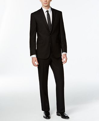 Kenneth Cole Reaction Black Solid Slim-Fit Suit - Suits & Suit