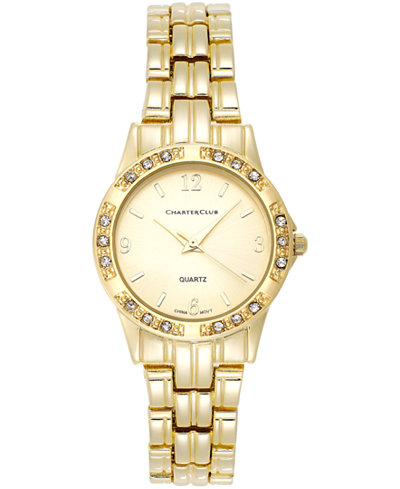Charter Club Women's Gold-Tone Stainless Steel Bracelet Watch 31mm 16859 - Only at Macy's