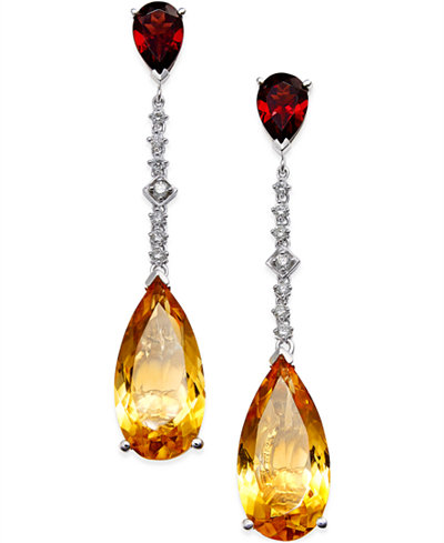 Citrine (14 ct. t.w.) Garnet (3 ct. t.w.) and Diamond (1/4 ct. t.w.) Drop Earrings in 14k White Gold
