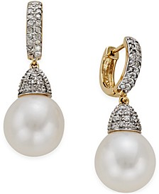 Freshwater Pearl (11mm) and Diamond (3/4 ct. t.w.) Drop Earrings in 14k Gold