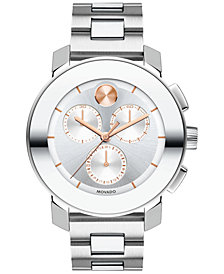 Movado Women's Swiss Chronograph BOLD Stainless Steel Bracelet Watch 38mm 3600356