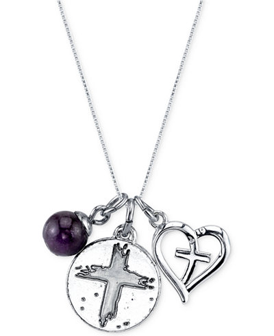 unwritten jewelry unwritten faith charm and amethyst bead 8mm necklace in 7414