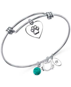 Unwritten Cat Charm and Manufactured Turquoise (8mm) Bracelet in Stainless Steel