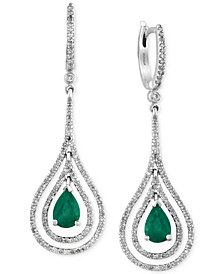 Brasilica by EFFY Collection Emerald (1-1/8 ct. t.w.) and Diamond (3/4 ct. t.w.) Earrings in 14k White Gold, Created for Macy's