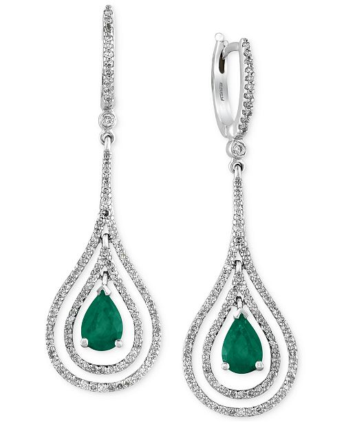 EFFY Collection Brasilica by Emerald (1-1/8 ct. t.w.) and Diamond (3/4 ct. t.w.) Earrings in 14k White Gold, Created for Macy's