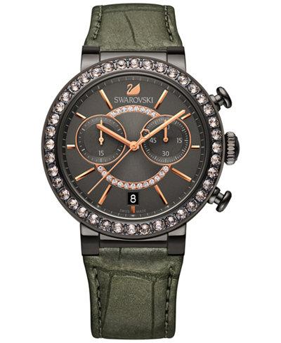 Swarovski Women's Swiss Chronograph Croc-Embossed Leather Strap Watch 38mm