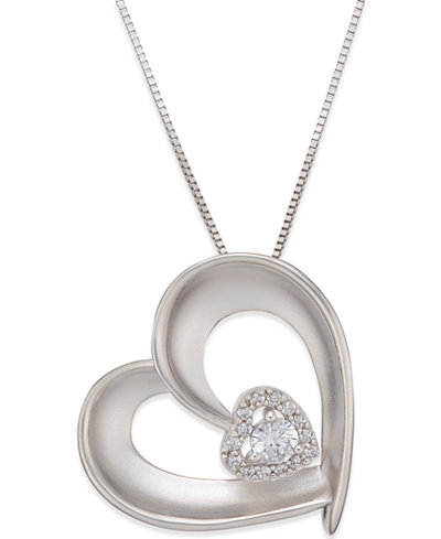 Diamond Satin Heart Pendant Necklace (1/5 ct. t.w.) in Sterling Silver