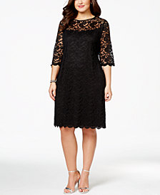 Connected Plus Size Illusion Lace Dress