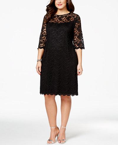 Connected Plus Size Illusion Lace Dress