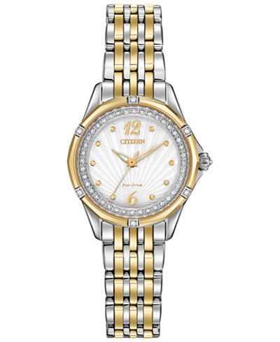 Citizen Women's Signature Versailles Diamond Accent Two-Tone Stainless Steel Bracelet Watch 30mm EM0374-50A