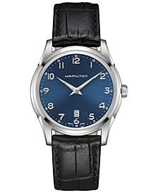 Men's Swiss Jazzmaster Black Leather Strap Watch 42mm H38511743
