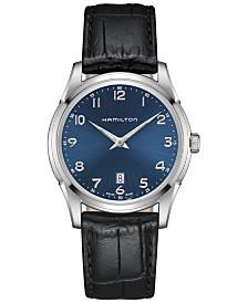 Hamilton Men's Swiss Jazzmaster Black Leather Strap Watch 42mm H38511743