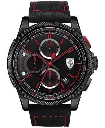 Scuderia Ferrari Men's Chronograph Formula Italia S Black Leather Strap Watch 46mm 830273