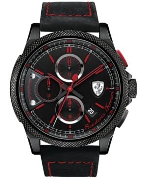 Scuderia Ferrari Men's Chronograph Formula Italia S Black Leather Strap Watch 46mm 830273