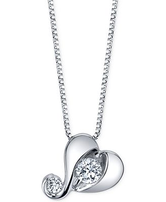 Proud Mom Diamond Heart Pendant Necklace (1/7 ct. t.w.) in 14k White Gold