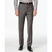 Deals on Calvin Klein Pants Charcoal Pindot Wool Modern Fit