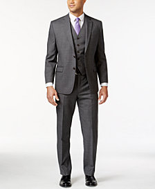 Lauren Ralph Lauren Grey Sharkskin Big and Tall Suit Separates