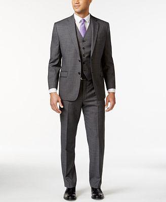 Lauren Ralph Lauren Grey Sharkskin Big and Tall Suit Separates