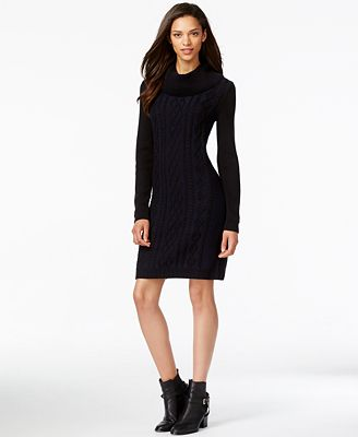 Tommy Hilfiger Cowl-Neck Cable-Knit Sweater Dress - Dresses ...