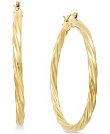 Twisted Hoop Earrings in 14k Gold