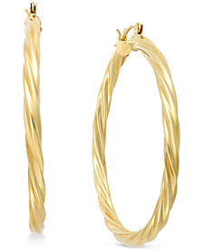 Twisted Hoop Earrings in 14k Gold