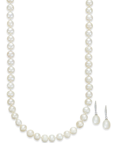 Cultured Freshwater Pearl Necklace (7-7 1/2mm) and Drop Earrings (9 1/2-10mm) Set in Sterling Silver