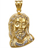 Mens Christ Head Pendant in 14k Yellow and White Gold
