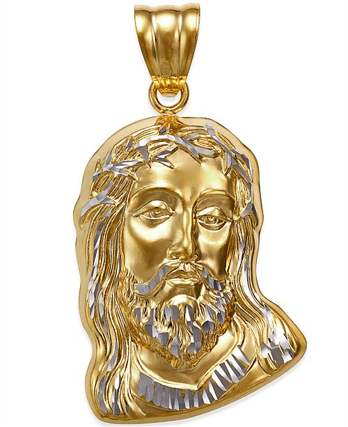 Macy's Men's Christ Head Pendant in 14k Yellow and White Gold