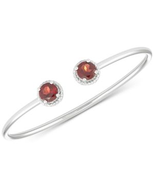 Garnet Open Bangle Bracelet (3-1/3 ct. t.w.) in Sterling Silver -  Macy's
