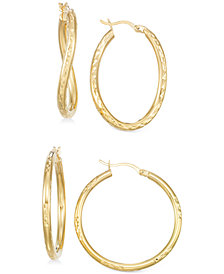 Set of Two Textured Hoop Earrings in 14k Gold Vermeil