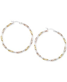 Diamond-Cut Hoop Earrings in 14K Tri-Tone Vermeil