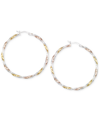 Diamond-Cut Hoop Earrings in 14K Tri-Tone Vermeil