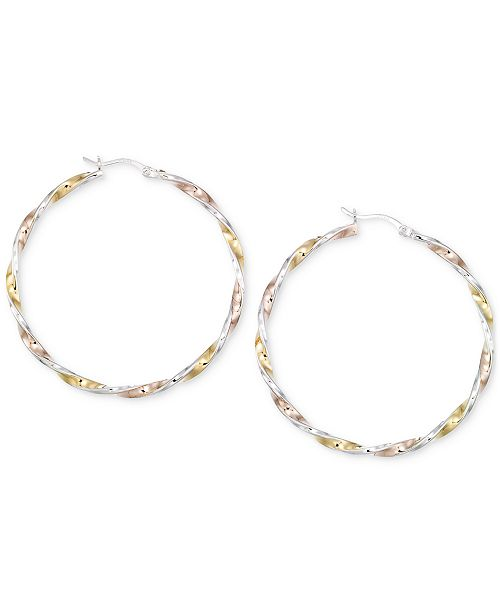 Macy's Diamond-Cut Hoop Earrings in 14K Tri-Tone Vermeil
