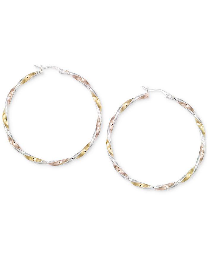 Macy's - Diamond-Cut Hoop Earrings in 14K Tri-Tone Vermeil