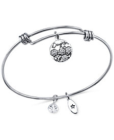 Unwritten Daughters Charm and Crystal Bangle Bracelet in Silver-Plated Stainless Steel