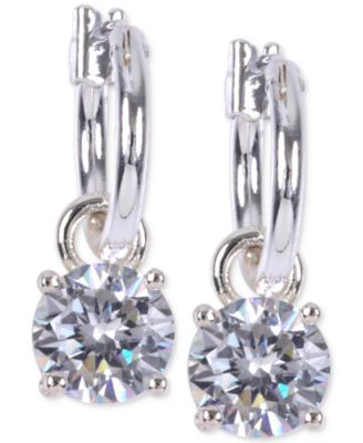 Image of Anne Klein Silver-Tone Crystal Drop Hoop Earrings