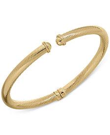 Italian Gold Twist Ribbed Cuff Bangle Bracelet in 14k Gold