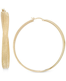 Simone I. Smith Satin-Finished Hoop Earrings in 14k Gold over Sterling Silver