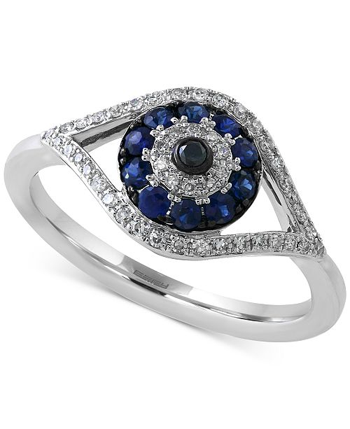 EFFY Collection EFFY® Sapphire (1/4 ct. t.w.) and Diamond (1/6 ct. t.w.) Evil Eye Ring in 14k White Gold