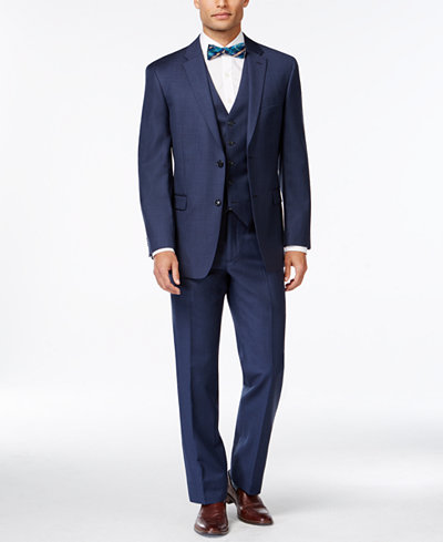 Tommy Hilfiger Blue Sharkskin Classic-Fit Suit Separates