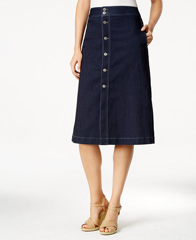 Style & Co Petite Button-Down Denim Midi Skirt, Created for Macy's ...