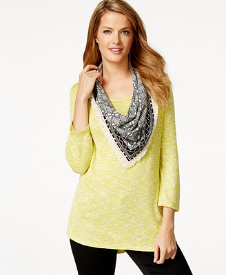 style co scoop neck top printed scarf only at macy s