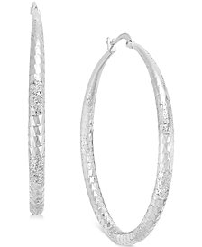 Thalia Sodi Large Diamond Cut Hoop Earrings, Created for Macy's