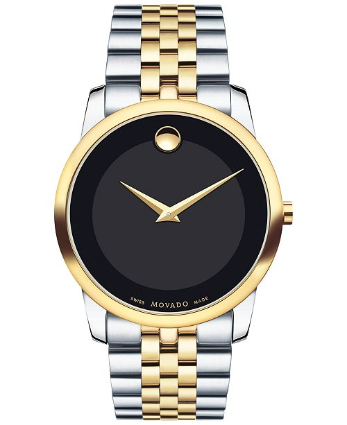 a2bc0842d30 ... Movado Men s Swiss Museum Classic Two-Tone PVD Stainless Steel Bracelet  Watch 40mm 0606899 ...