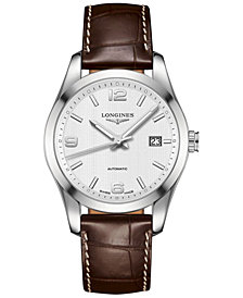 Longines Men's Automatic Conquest Classic Brown Leather Strap Watch 40mm L27854763