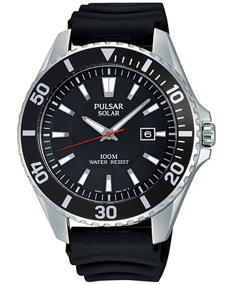 Pulsar Men's Solar Sport Black Strap Watch
