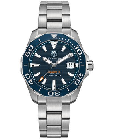 TAG Heuer Men's Swiss Automatic Aquaracer Calibre 5 Stainless Steel Bracelet Watch 41mm WAY211C.BA0928