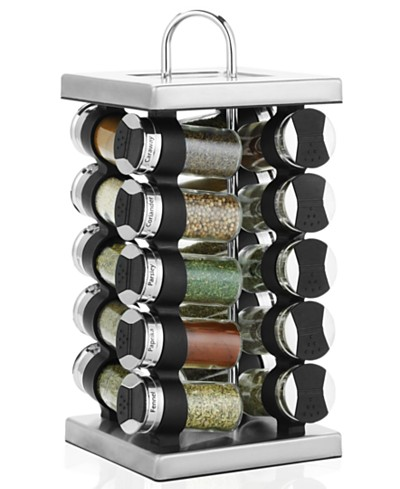 Martha Stewart Collection Square Stainless Steel Spice Rack, 21-Piece Set, Created for Macy's,