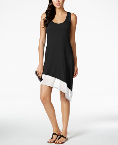 Calvin Klein Asymmetrical Tank Dress Cover Up,Created for Macy's Style