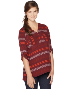 Motherhood Maternity Striped Split-Neck Top plus size,  plus size fashion plus size appare